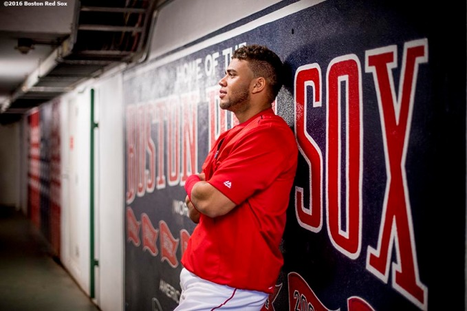 BOSTON, MA - SEPTEMBER 13: Yoan Moncada #65 of the Boston Red Sox poses for a portrait before a game against the Baltimore Orioles on September 13, 2016 at Fenway Park in Boston, Massachusetts. (Photo by Billie Weiss/Boston Red Sox/Getty Images) *** Local Caption *** Yoan Moncada