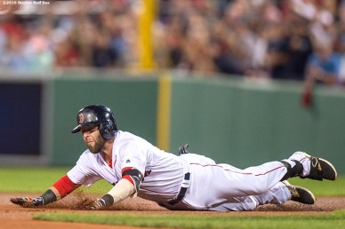 BOSTON, MA - SEPTEMBER 13: Dustin Pedroia #15 of the Boston Red Sox slides into second base after hitting a double during the first inning of a game against the Baltimore Orioles on September 13, 2016 at Fenway Park in Boston, Massachusetts. (Photo by Billie Weiss/Boston Red Sox/Getty Images) *** Local Caption *** Dustin Pedroia