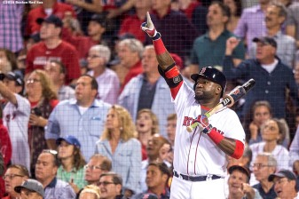 BOSTON, MA - SEPTEMBER 13: David Ortiz #34 reacts as Xander Bogaerts #2 of the Boston Red Sox hits a solo home run during the fifth inning of a game against the Baltimore Orioles on September 13, 2016 at Fenway Park in Boston, Massachusetts. (Photo by Billie Weiss/Boston Red Sox/Getty Images) *** Local Caption *** David Ortiz