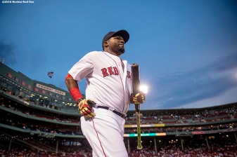 BOSTON, MA - SEPTEMBER 14: David Ortiz #34 of the Boston Red Sox runs onto the field before a game against the Baltimore Orioles on September 14, 2016 at Fenway Park in Boston, Massachusetts. (Photo by Billie Weiss/Boston Red Sox/Getty Images) *** Local Caption *** David Ortiz