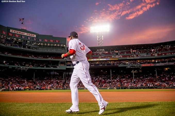 BOSTON, MA - SEPTEMBER 14: David Ortiz #34 of the Boston Red Sox warms up before a game against the Baltimore Orioles on September 14, 2016 at Fenway Park in Boston, Massachusetts. (Photo by Billie Weiss/Boston Red Sox/Getty Images) *** Local Caption *** David Ortiz