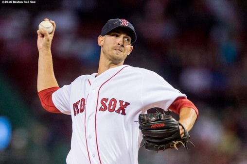 BOSTON, MA - SEPTEMBER 14: Rick Porcello #22 of the Boston Red Sox delivers during the first inning of a game against the Baltimore Orioles on September 14, 2016 at Fenway Park in Boston, Massachusetts. (Photo by Billie Weiss/Boston Red Sox/Getty Images) *** Local Caption *** Rick Porcello