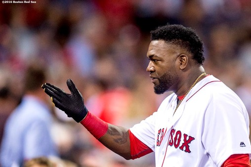 BOSTON, MA - SEPTEMBER 14: David Ortiz #34 of the Boston Red Sox gestures a kiss to a fan during the first inning of a game against the Baltimore Orioles on September 14, 2016 at Fenway Park in Boston, Massachusetts. (Photo by Billie Weiss/Boston Red Sox/Getty Images) *** Local Caption *** David Ortiz