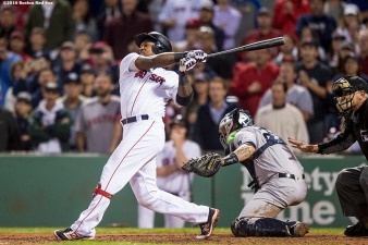 BOSTON, MA - SEPTEMBER 15: Hanley Ramirez #13 of the Boston Red Sox hits a walk off three run home run during the ninth inning of a game against the New York Yankees on September 15, 2016 at Fenway Park in Boston, Massachusetts. (Photo by Billie Weiss/Boston Red Sox/Getty Images) *** Local Caption *** Hanley Ramirez