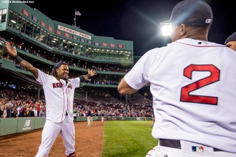 BOSTON, MA - SEPTEMBER 15: Hanley Ramirez #13 of the Boston Red Sox reacts after hitting a walk off three run home run during the ninth inning of a game against the New York Yankees on September 15, 2016 at Fenway Park in Boston, Massachusetts. (Photo by Billie Weiss/Boston Red Sox/Getty Images) *** Local Caption *** Hanley Ramirez