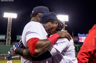 BOSTON, MA - SEPTEMBER 15: Hanley Ramirez #13 of the Boston Red Sox is hugged by David Ortiz #34 after hitting a walk off three run home run during the ninth inning of a game against the New York Yankees on September 15, 2016 at Fenway Park in Boston, Massachusetts. (Photo by Billie Weiss/Boston Red Sox/Getty Images) *** Local Caption *** Hanley Ramirez; David Ortiz