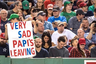 BOSTON, MA - SEPTEMBER 19: A fan holds a sign for David Ortiz #34 during a game between the Boston Red Sox and the New York Yankees on September 18, 2016 at Fenway Park in Boston, Massachusetts. (Photo by Billie Weiss/Boston Red Sox/Getty Images) *** Local Caption *** David Ortiz