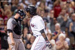 BOSTON, MA - SEPTEMBER 19: Hanley Ramirez #13 of the Boston Red Sox reacts after hitting a go ahead solo home run during the seventh inning of a game against the New York Yankees on September 18, 2016 at Fenway Park in Boston, Massachusetts. It was his second home run of the week. (Photo by Billie Weiss/Boston Red Sox/Getty Images) *** Local Caption *** Hanley Ramirez