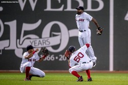 BOSTON, MA - SEPTEMBER 19: Chris Young #30, Jackie Bradley Jr. #25, and Mookie Betts #50 of the Boston Red Sox celebrate a victory against the New York Yankees on September 18, 2016 at Fenway Park in Boston, Massachusetts. (Photo by Billie Weiss/Boston Red Sox/Getty Images) *** Local Caption *** Chris Young; Jackie Bradley Jr.; Mookie Betts