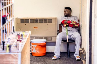 BALTIMORE, MD - SEPTEMBER 19: David Ortiz #34 of the Boston Red Sox sits in the dugout tunnel before a game against the Baltimore Orioles on September 19, 2016 at Oriole Park at Camden Yards in Baltimore, Maryland. (Photo by Billie Weiss/Boston Red Sox/Getty Images) *** Local Caption *** David Ortiz