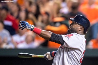 BALTIMORE, MD - SEPTEMBER 20: David Ortiz #34 of the Boston Red Sox hits a three run home run during the seventh inning of a game against the Baltimore Orioles on September 20, 2016 at Oriole Park at Camden Yards in Baltimore, Maryland. (Photo by Billie Weiss/Boston Red Sox/Getty Images) *** Local Caption *** David Ortiz