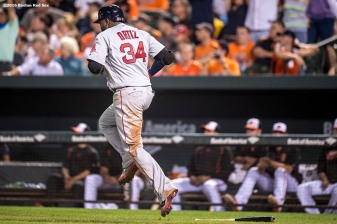 BALTIMORE, MD - SEPTEMBER 20: David Ortiz #34 of the Boston Red Sox reacts after hitting a three run home run during the seventh inning of a game against the Baltimore Orioles on September 20, 2016 at Oriole Park at Camden Yards in Baltimore, Maryland. (Photo by Billie Weiss/Boston Red Sox/Getty Images) *** Local Caption *** David Ortiz