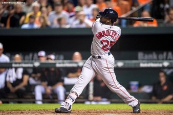 BALTIMORE, MD - SEPTEMBER 20: Jackie Bradley Jr. #25 of the Boston Red Sox hits a solo home run during the fourth inning of a game against the Baltimore Orioles on September 20, 2016 at Oriole Park at Camden Yards in Baltimore, Maryland. (Photo by Billie Weiss/Boston Red Sox/Getty Images) *** Local Caption *** Jackie Bradley Jr.