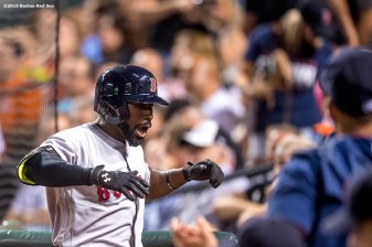 BALTIMORE, MD - SEPTEMBER 20: Jackie Bradley Jr. #25 of the Boston Red Sox reacts after hitting a solo home run during the fourth inning of a game against the Baltimore Orioles on September 20, 2016 at Oriole Park at Camden Yards in Baltimore, Maryland. (Photo by Billie Weiss/Boston Red Sox/Getty Images) *** Local Caption *** Jackie Bradley Jr.