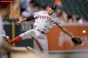 BALTIMORE, MD - SEPTEMBER 20: Xander Bogaerts #2 of the Boston Red Sox attempts to catch a fly ball during the ninth inning of a game against the Baltimore Orioles on September 20, 2016 at Oriole Park at Camden Yards in Baltimore, Maryland. (Photo by Billie Weiss/Boston Red Sox/Getty Images) *** Local Caption *** Xander Bogaerts