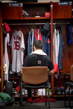 BALTIMORE, MD - SEPTEMBER 21: Koji Uehara #19 of the Boston Red Sox sits at his locker before a game against the Baltimore Orioles on September 21, 2016 at Oriole Park at Camden Yards in Baltimore, Maryland. (Photo by Billie Weiss/Boston Red Sox/Getty Images) *** Local Caption *** Koji Uehara