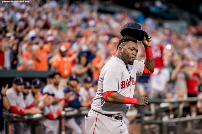BALTIMORE, MD - SEPTEMBER 22: David Ortiz #34 of the Boston Red Sox tips his cap as he is introduced during an honorary pre game ceremony for him before a game against the Baltimore Orioles on September 22, 2016 at Oriole Park at Camden Yards in Baltimore, Maryland. (Photo by Billie Weiss/Boston Red Sox/Getty Images) *** Local Caption *** David Ortiz