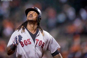 BALTIMORE, MD - SEPTEMBER 22: Hanley Ramirez #13 of the Boston Red Sox reacts after hitting a solo home run during the seventh inning of a game against the Baltimore Orioles on September 22, 2016 at Oriole Park at Camden Yards in Baltimore, Maryland. (Photo by Billie Weiss/Boston Red Sox/Getty Images) *** Local Caption *** Hanley Ramirez