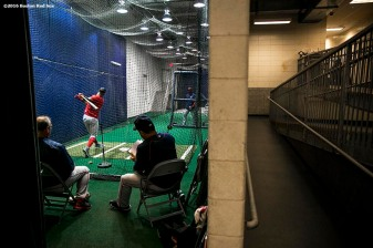 NEW YORK, NY - SEPTEMBER 27: Chris Young #30 of the Boston Red Sox takes batting practice in the cage before a game against the New York Yankees on September 27, 2016 at Yankee Stadium in the Bronx borough of New York City. (Photo by Billie Weiss/Boston Red Sox/Getty Images) *** Local Caption *** Chris Young