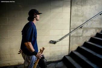 NEW YORK, NY - SEPTEMBER 27: Andrew Benintendi #40 of the Boston Red Sox walks onto the field before a game against the New York Yankees on September 27, 2016 at Yankee Stadium in the Bronx borough of New York City. (Photo by Billie Weiss/Boston Red Sox/Getty Images) *** Local Caption *** Andrew Benintendi
