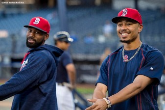 NEW YORK, NY - SEPTEMBER 27: Jackie Bradley Jr. #25 and Mookie Betts #50 of the Boston Red Sox react before a game against the New York Yankees on September 27, 2016 at Yankee Stadium in the Bronx borough of New York City. (Photo by Billie Weiss/Boston Red Sox/Getty Images) *** Local Caption *** Jackie Bradley Jr.; Mookie Betts
