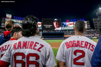 NEW YORK, NY - SEPTEMBER 27: A moment of silence is held for Miami Marlins pitcher JosÈ Fernandez before a game between the Boston Red Sox and the New York Yankees on September 27, 2016 at Yankee Stadium in the Bronx borough of New York City. (Photo by Billie Weiss/Boston Red Sox/Getty Images) *** Local Caption *** JosÈ Fernandez