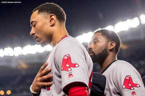 NEW YORK, NY - SEPTEMBER 27: Mookie Betts #50 of the Boston Red Sox pauses before a game against the New York Yankees on September 27, 2016 at Yankee Stadium in the Bronx borough of New York City. (Photo by Billie Weiss/Boston Red Sox/Getty Images) *** Local Caption *** Mookie Betts