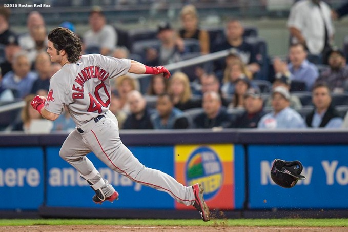NEW YORK, NY - SEPTEMBER 27: Andrew Benintendi #40 of the Boston Red Sox rounds first base after advancing on a wild throw during the sixth inning of a game against the New York Yankees on September 27, 2016 at Yankee Stadium in the Bronx borough of New York City. (Photo by Billie Weiss/Boston Red Sox/Getty Images) *** Local Caption *** Andrew Benintendi
