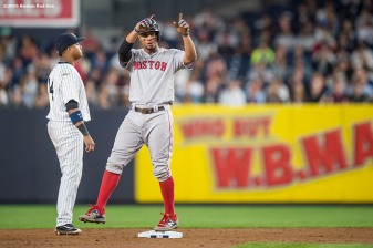 NEW YORK, NY - SEPTEMBER 27: Xander Bogaerts #2 of the Boston Red Sox reacts after hitting an RBI double during the sixth inning of a game against the New York Yankees on September 27, 2016 at Yankee Stadium in the Bronx borough of New York City. (Photo by Billie Weiss/Boston Red Sox/Getty Images) *** Local Caption *** Xander Bogaerts