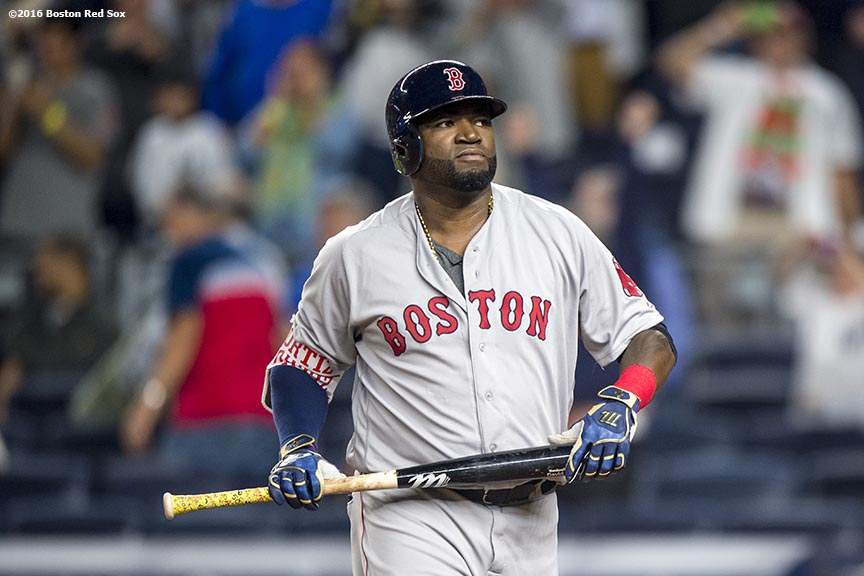 NEW YORK, NY - SEPTEMBER 27: David Ortiz #34 of the Boston Red Sox reacts after striking out to end the game against the New York Yankees on September 27, 2016 at Yankee Stadium in the Bronx borough of New York City. (Photo by Billie Weiss/Boston Red Sox/Getty Images) *** Local Caption *** David Ortiz