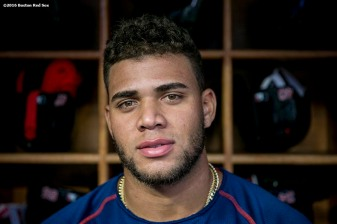 NEW YORK, NY - SEPTEMBER 28: Yoan Moncada #65 of the Boston Red Sox poses for a portrait before a game against the New York Yankees on September 28, 2016 at Yankee Stadium in the Bronx borough of New York City. (Photo by Billie Weiss/Boston Red Sox/Getty Images) *** Local Caption *** Yoan Moncada