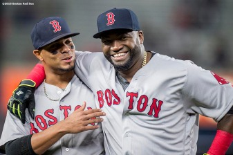 NEW YORK, NY - SEPTEMBER 28: Xander Bogaerts #2 and David Ortiz #34 of the Boston Red Sox react before a game against the New York Yankees on September 28, 2016 at Yankee Stadium in the Bronx borough of New York City. (Photo by Billie Weiss/Boston Red Sox/Getty Images) *** Local Caption *** Xander Bogaerts; David Ortiz