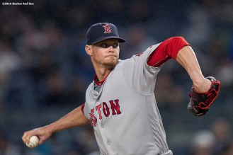 NEW YORK, NY - SEPTEMBER 28: Clay Buchholz #11 of the Boston Red Sox delivers during the first inning of a game against the New York Yankees on September 28, 2016 at Yankee Stadium in the Bronx borough of New York City. (Photo by Billie Weiss/Boston Red Sox/Getty Images) *** Local Caption *** Clay Buchholz