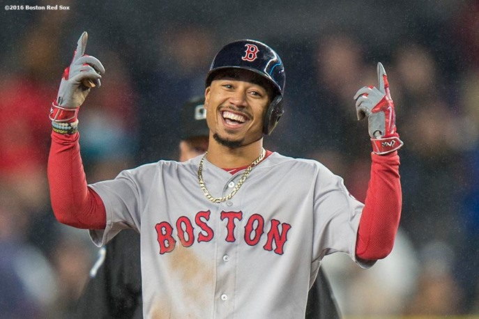 NEW YORK, NY - SEPTEMBER 28: Mookie Betts #50 of the Boston Red Sox reacts after hitting a go ahead RBI double during the eighth inning of a game against the New York Yankees on September 28, 2016 at Yankee Stadium in the Bronx borough of New York City. (Photo by Billie Weiss/Boston Red Sox/Getty Images) *** Local Caption *** Mookie Betts