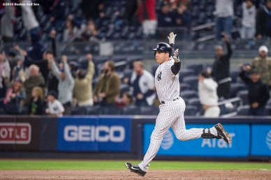 NEW YORK, NY - SEPTEMBER 28: Mark Teixeira #25 of the New York Yankees reacts after hitting a walk off grand slam home run during the ninth inning of a game against the Boston Red Sox on September 28, 2016 at Yankee Stadium in the Bronx borough of New York City. (Photo by Billie Weiss/Boston Red Sox/Getty Images) *** Local Caption *** Mark Teixeira