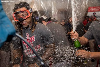 NEW YORK, NY - SEPTEMBER 28: Hanley Ramirez #13 of the Boston Red Sox celebrates after clinching the American League East Division after a game against the New York Yankees on September 28, 2016 at Yankee Stadium in the Bronx borough of New York City. (Photo by Billie Weiss/Boston Red Sox/Getty Images) *** Local Caption *** Hanley Ramirez