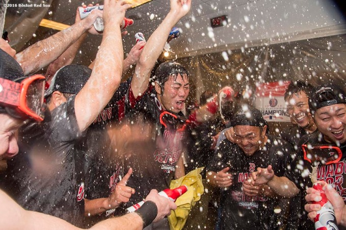 NEW YORK, NY - SEPTEMBER 28: Koji Uehara #19 and Junichi Tazawa #36 of the Boston Red Sox celebrate after clinching the American League East Division after a game against the New York Yankees on September 28, 2016 at Yankee Stadium in the Bronx borough of New York City. (Photo by Billie Weiss/Boston Red Sox/Getty Images) *** Local Caption *** Koji Uehara; Junichi Tazawa