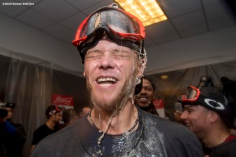NEW YORK, NY - SEPTEMBER 28: Clay Buchholz #11 of the Boston Red Sox celebrates after clinching the American League East Division after a game against the New York Yankees on September 28, 2016 at Yankee Stadium in the Bronx borough of New York City. (Photo by Billie Weiss/Boston Red Sox/Getty Images) *** Local Caption *** Clay Buchholz