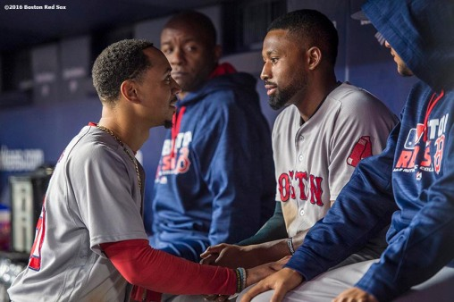NEW YORK, NY - SEPTEMBER 28: Mookie Betts #50 and Jackie Bradley Jr. #25 of the Boston Red Sox react during the eighth inning of a game against the New York Yankees on September 28, 2016 at Yankee Stadium in the Bronx borough of New York City. (Photo by Billie Weiss/Boston Red Sox/Getty Images) *** Local Caption *** Mookie Betts; Jackie Bradley Jr.