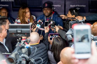 NEW YORK, NY - SEPTEMBER 29: David Ortiz #34 of the Boston Red Sox meets with members of the media before his final game at Yankee Stadium against the New York Yankees on September 29, 2016 at Yankee Stadium in the Bronx borough of New York City. (Photo by Billie Weiss/Boston Red Sox/Getty Images) *** Local Caption *** David Ortiz