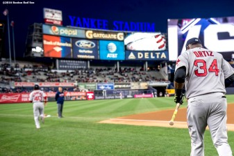 NEW YORK, NY - SEPTEMBER 29: David Ortiz #34 of the Boston Red Sox runs onto the field before his final game at Yankee Stadium against the New York Yankees on September 29, 2016 at Yankee Stadium in the Bronx borough of New York City. (Photo by Billie Weiss/Boston Red Sox/Getty Images) *** Local Caption *** David Ortiz