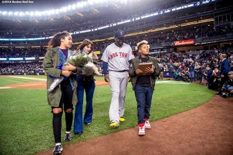 NEW YORK, NY - SEPTEMBER 29: David Ortiz #34 of the Boston Red Sox walks off the field with his family after a retirement ceremony before his final game at Yankee Stadium against the New York Yankees on September 29, 2016 at Yankee Stadium in the Bronx borough of New York City. (Photo by Billie Weiss/Boston Red Sox/Getty Images) *** Local Caption *** David Ortiz