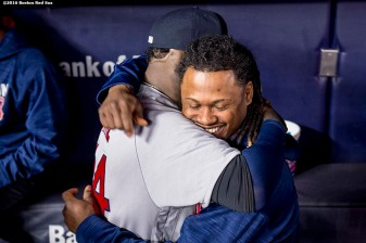 NEW YORK, NY - SEPTEMBER 29: David Ortiz #34 of the Boston Red Sox hugs Hanley Ramirez #13 before his final game at Yankee Stadium against the New York Yankees on September 29, 2016 at Yankee Stadium in the Bronx borough of New York City. (Photo by Billie Weiss/Boston Red Sox/Getty Images) *** Local Caption *** David Ortiz; Hanley Ramirez