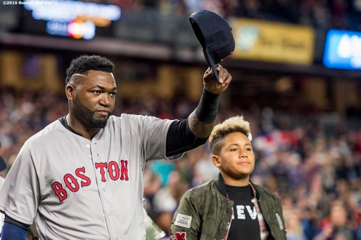 NEW YORK, NY - SEPTEMBER 29: David Ortiz #34 of the Boston Red Sox tips his cap as he is introduced during a retirement ceremony before his final game at Yankee Stadium against the New York Yankees on September 29, 2016 at Yankee Stadium in the Bronx borough of New York City. (Photo by Billie Weiss/Boston Red Sox/Getty Images) *** Local Caption *** David Ortiz