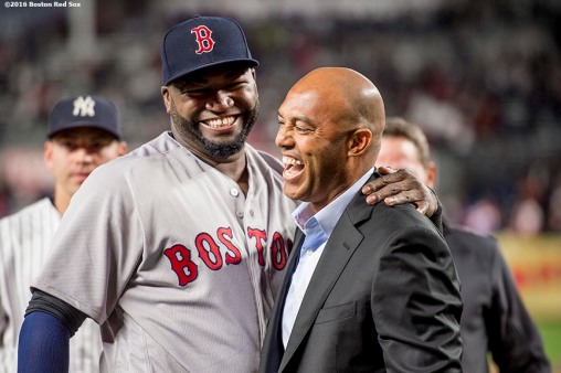 NEW YORK, NY - SEPTEMBER 29: Former New York Yankees pitcher Mariano Rivera presents David Ortiz #34 of the Boston Red Sox with a gift during a retirement ceremony before his final game at Yankee Stadium against the New York Yankees on September 29, 2016 at Yankee Stadium in the Bronx borough of New York City. (Photo by Billie Weiss/Boston Red Sox/Getty Images) *** Local Caption *** David Ortiz; Mariano Rivera