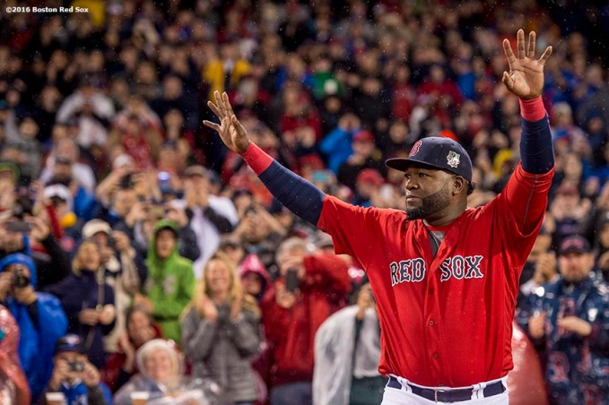 BOSTON, MA - SEPTEMBER 30: David Ortiz #34 of the Boston Red Sox is introduced during a retirement tribute ceremony before a game against the Toronto Blue Jays on September 30, 2016 at Fenway Park in Boston, Massachusetts. (Photo by Billie Weiss/Boston Red Sox/Getty Images) *** Local Caption *** David Ortiz