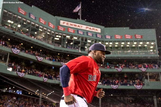 BOSTON, MA - SEPTEMBER 30: David Ortiz #34 of the Boston Red Sox runs onto the field as he is introduced during a retirement tribute ceremony before a game against the Toronto Blue Jays on September 30, 2016 at Fenway Park in Boston, Massachusetts. (Photo by Billie Weiss/Boston Red Sox/Getty Images) *** Local Caption *** David Ortiz