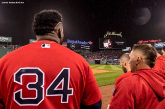 BOSTON, MA - SEPTEMBER 30: David Ortiz #34 of the Boston Red Sox looks during for a moment of silence for JosÈ Fernandez before a game against the Toronto Blue Jays on September 30, 2016 at Fenway Park in Boston, Massachusetts. (Photo by Billie Weiss/Boston Red Sox/Getty Images) *** Local Caption *** David Ortiz; JosÈ Fernandez