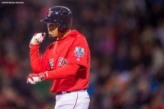 BOSTON, MA - SEPTEMBER 30: Mookie Betts #50 of the Boston Red Sox reacts after hitting a game tying RBI single during the seventh inning of a game against the Toronto Blue Jays on September 30, 2016 at Fenway Park in Boston, Massachusetts. (Photo by Billie Weiss/Boston Red Sox/Getty Images) *** Local Caption *** Mookie Betts