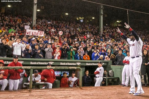 BOSTON, MA - OCTOBER 1: David Ortiz #34 of the Boston Red Sox waves to fans as he is introduced before a retirement tribute ceremony before a game against the Toronto Blue Jays on October 1, 2016 at Fenway Park in Boston, Massachusetts. (Photo by Billie Weiss/Boston Red Sox/Getty Images) *** Local Caption *** David Ortiz